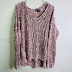 DKNY blush pink open knit sequins glitter sweater